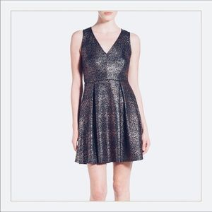 Everly foiled black and silver skater dress